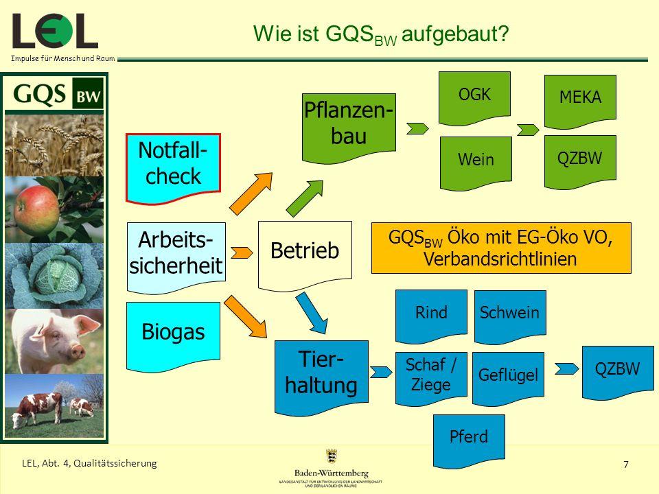 Impulse für Mensch und Raum QZBW Pflanzen- bau QZBW MEKA Wein OGK Wie ist GQS BW aufgebaut? Betrieb Arbeits- sicherheit Biogas Tier- haltung Notfall-