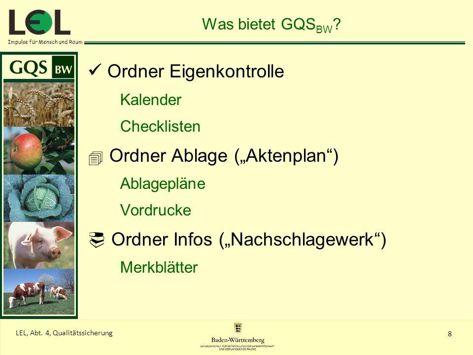 Impulse für Mensch und Raum 8 LEL, Abt. 4, Qualitätssicherung Was bietet GQS BW ? Ordner Eigenkontrolle Kalender Checklisten Ordner Ablage (Aktenplan)