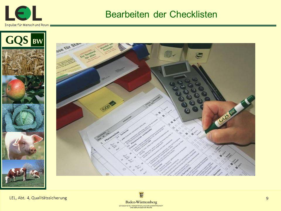 Impulse für Mensch und Raum 9 LEL, Abt. 4, Qualitätssicherung Bearbeiten der Checklisten