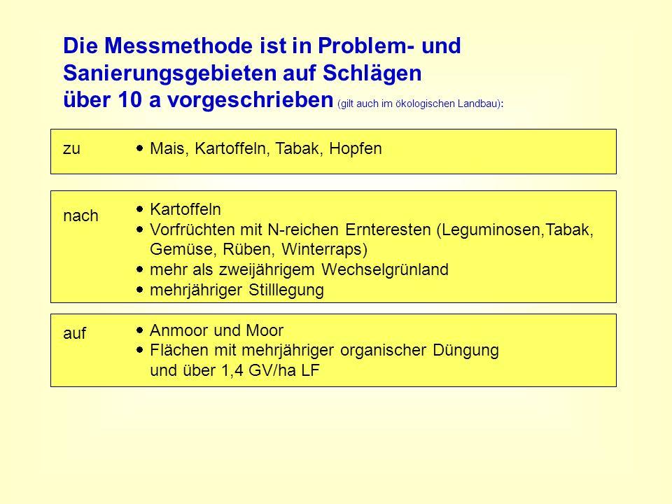 Die Messmethode ist in Problem- und Sanierungsgebieten auf Schlägen über 10 a vorgeschrieben (gilt auch im ökologischen Landbau): Mais, Kartoffeln, Ta