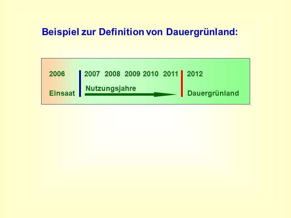 2006 2007 2008 2009 2010 2011 2012 Dauergrünland Einsaat Nutzungsjahre Beispiel zur Definition von Dauergrünland: