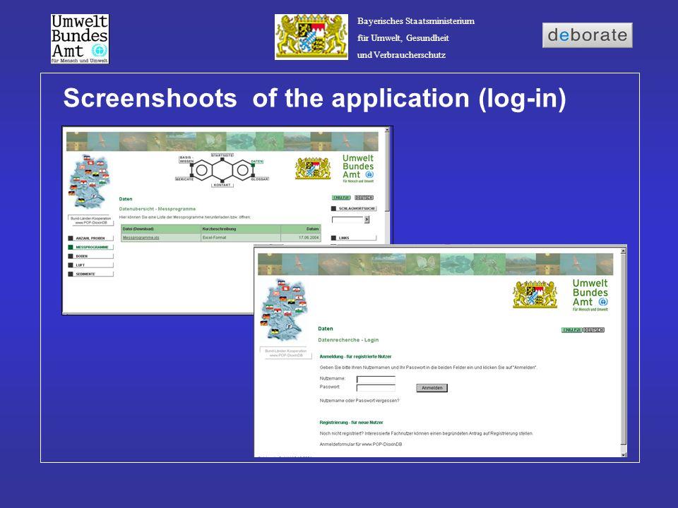Bayerisches Staatsministerium für Umwelt, Gesundheit und Verbraucherschutz Screenshoots of the application (log-in)