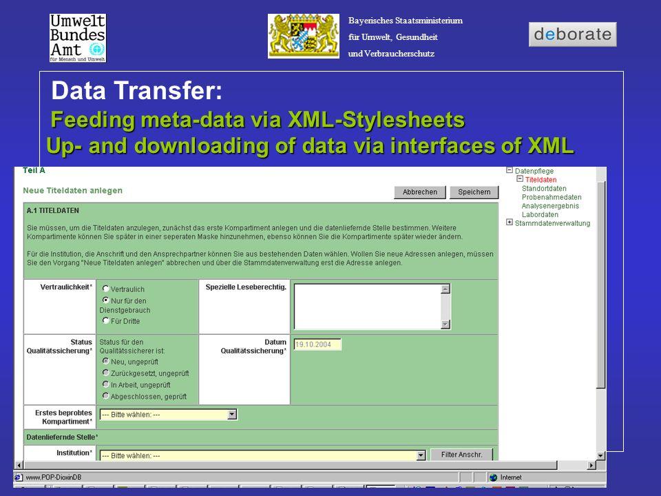 Bayerisches Staatsministerium für Umwelt, Gesundheit und Verbraucherschutz Feeding meta-data via XML-Stylesheets Data Transfer: Up- and downloading of