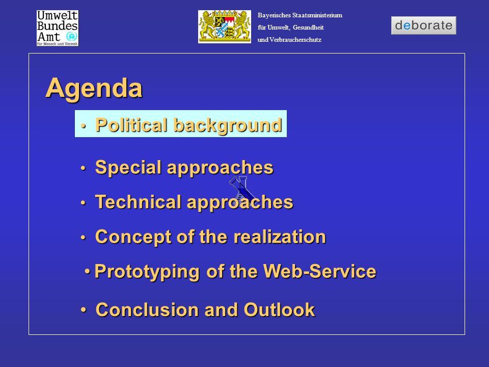 Bayerisches Staatsministerium für Umwelt, Gesundheit und Verbraucherschutz Agenda Political background Political background Concept of the realization