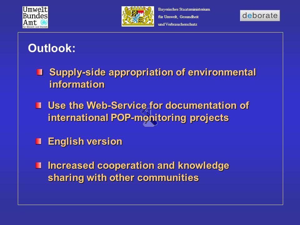 Bayerisches Staatsministerium für Umwelt, Gesundheit und Verbraucherschutz Outlook: Supply-side appropriation of environmental information Use the Web