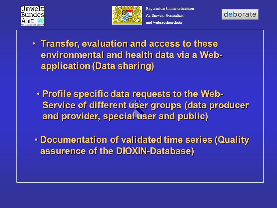 Bayerisches Staatsministerium für Umwelt, Gesundheit und Verbraucherschutz Data Shering requires cooperation with partners involved in technological research and cutting- edge projectsData Shering requires cooperation with partners involved in technological research and cutting- edge projects Experience Sharing Cooperation with Bavarian State Ministry of the Environment, Public Health and Consumer Protection (Agreement of Cooperation) Cooperation with Bavarian State Ministry of the Environment, Public Health and Consumer Protection (Agreement of Cooperation)