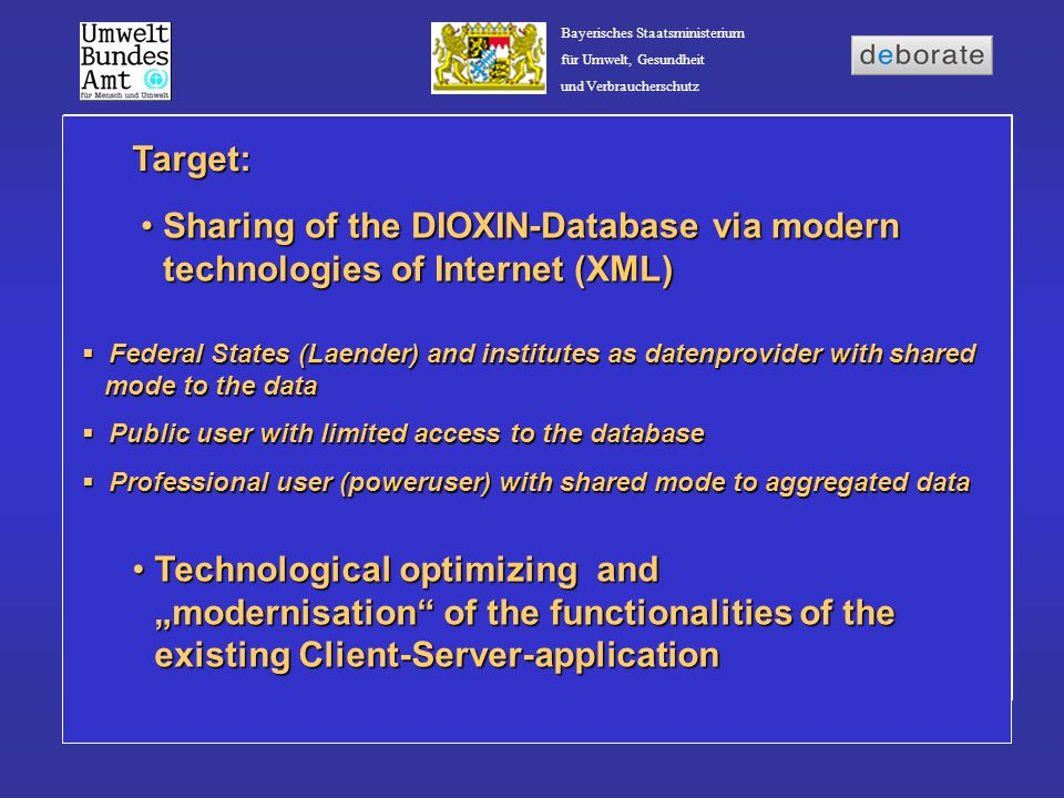 Bayerisches Staatsministerium für Umwelt, Gesundheit und Verbraucherschutz Consinderation of the UBA-Styleguides and guidelines of security Interface to the German Environmental Network (gein®) and the virtuell datakatalogue (vUDK) Use of Open-Source-Software Admission to the data via the Internet under reconditions of the W3C-standard (XML-schema) Integration of existing tools (Statistic, Reporting- Tool NetCharts) Integration of existing tools (Statistic, Reporting- Tool NetCharts) Generell conditions: