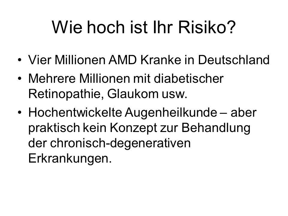 Wie hoch ist Ihr Risiko? Vier Millionen AMD Kranke in Deutschland Mehrere Millionen mit diabetischer Retinopathie, Glaukom usw. Hochentwickelte Augenh