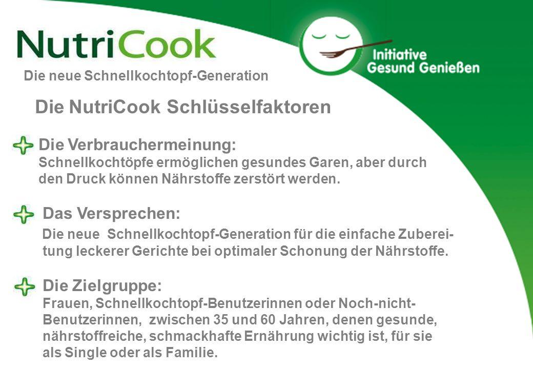 Die neue Schnellkochtopf-Generation Die NutriCook Schlüsselfaktoren Die Verbrauchermeinung: Schnellkochtöpfe ermöglichen gesundes Garen, aber durch de