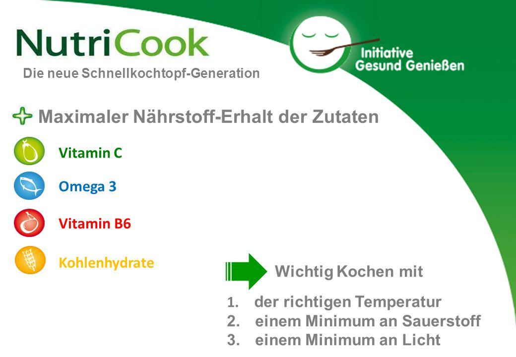 Maximaler Nährstoff-Erhalt der Zutaten 1. der richtigen Temperatur 2. einem Minimum an Sauerstoff 3. einem Minimum an Licht Vitamin C Vitamin B6 Omega
