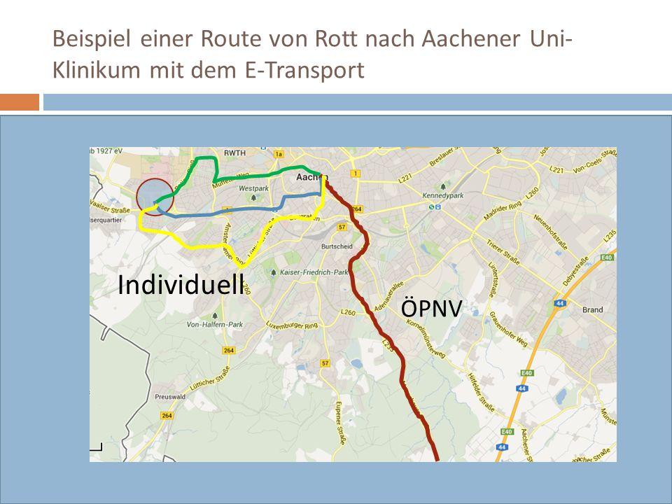 Beispiel einer Route von Rott nach Aachener Uni- Klinikum mit dem E-Transport Hauptstrecke mit dem E-Transport Ca.25 Min. ÖPNV Individuell