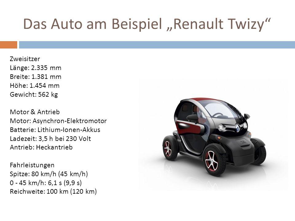 Das Auto am Beispiel Renault Twizy Zweisitzer Länge: 2.335 mm Breite: 1.381 mm Höhe: 1.454 mm Gewicht: 562 kg Motor & Antrieb Motor: Asynchron-Elektro