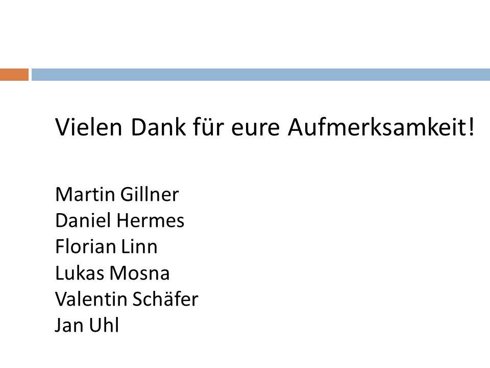 Vielen Dank für eure Aufmerksamkeit! Martin Gillner Daniel Hermes Florian Linn Lukas Mosna Valentin Schäfer Jan Uhl
