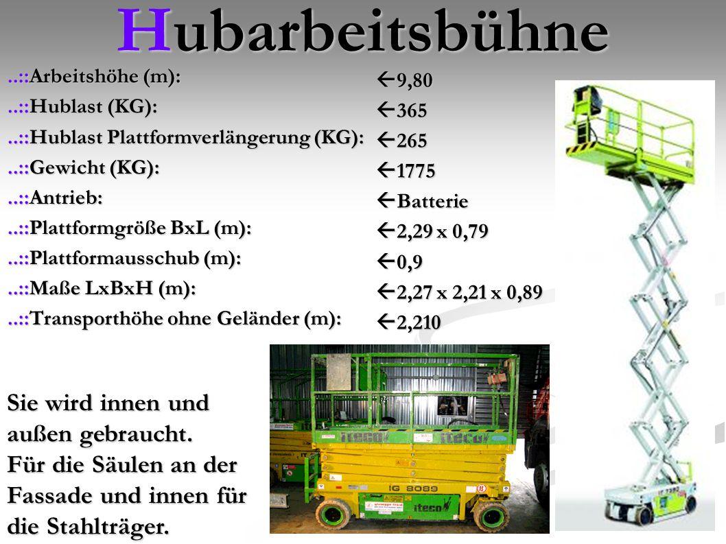 Hubarbeitsbühne..::Arbeitshöhe (m):..::Hublast (KG):..::Hublast (KG):..::Hublast Plattformverlängerung (KG):..::Gewicht (KG):..::Gewicht (KG):..::Antrieb:..::Plattformgröße BxL (m):..::Plattformausschub (m):..::Maße LxBxH (m):..::Transporthöhe ohne Geländer (m): 9,80 365 265 1775 Batterie 2,29 x 0,79 0,9 2,27 x 2,21 x 0,89 2,210 Sie wird innen und außen gebraucht.
