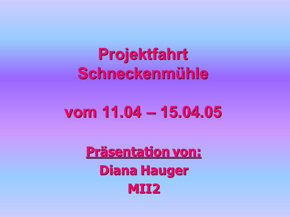 Projektfahrt Schneckenmühle vom 11.04 – 15.04.05 Präsentation von: Diana Hauger MII2