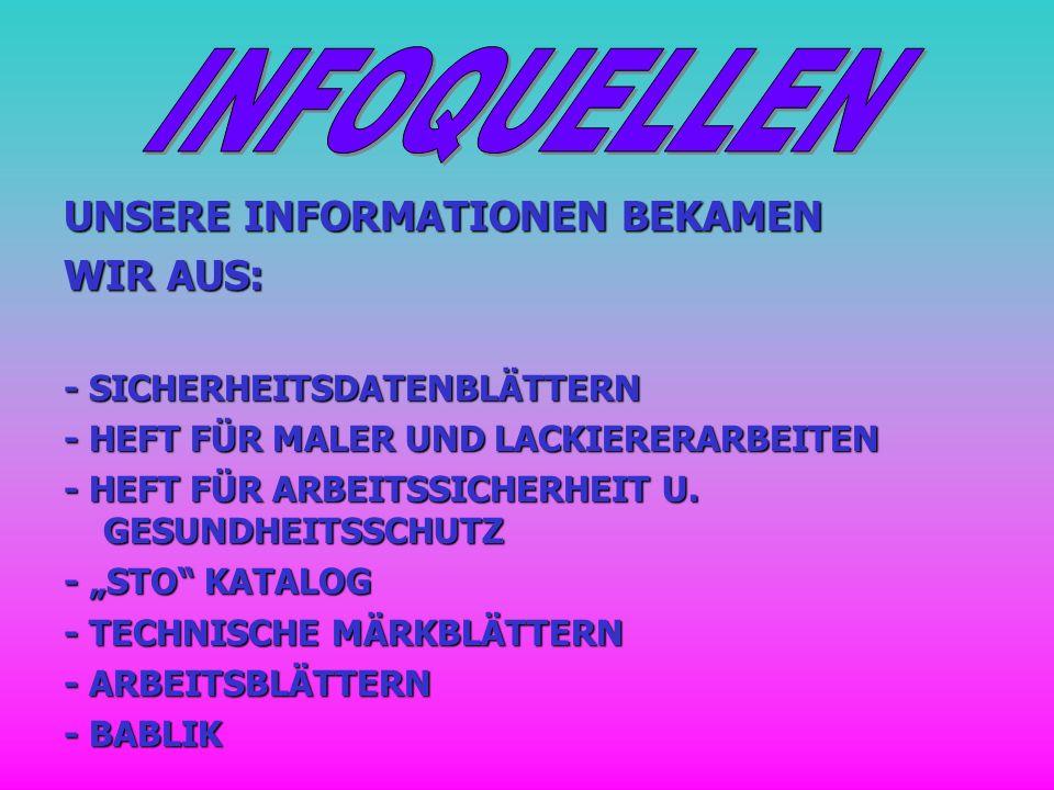 UNSERE INFORMATIONEN BEKAMEN WIR AUS: - SICHERHEITSDATENBLÄTTERN - HEFT FÜR MALER UND LACKIERERARBEITEN - HEFT FÜR ARBEITSSICHERHEIT U. GESUNDHEITSSCH