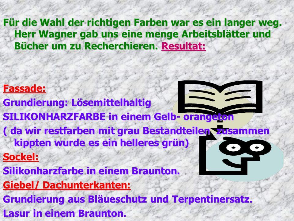 Für die Wahl der richtigen Farben war es ein langer weg. Herr Wagner gab uns eine menge Arbeitsblätter und Bücher um zu Recherchieren. Resultat: Fassa