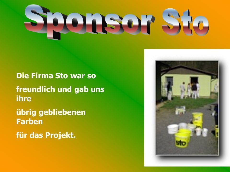 Die Firma Sto war so freundlich und gab uns ihre übrig gebliebenen Farben für das Projekt.