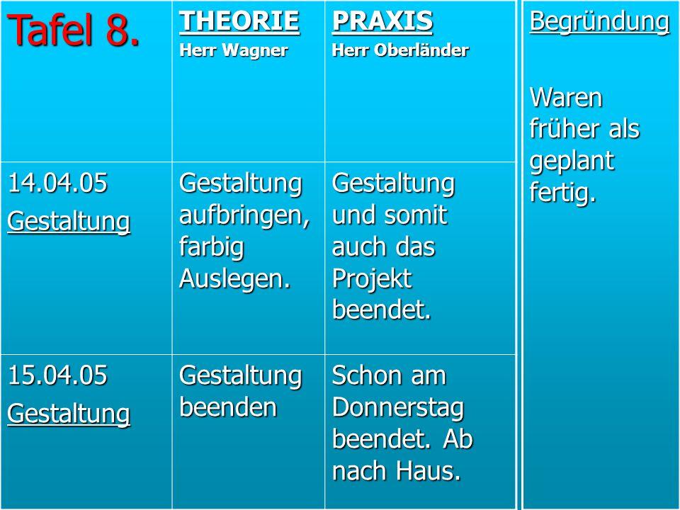 Tafel 8. THEORIE Herr Wagner PRAXIS Herr Oberländer 14.04.05Gestaltung Gestaltung aufbringen, farbig Auslegen. Gestaltung und somit auch das Projekt b