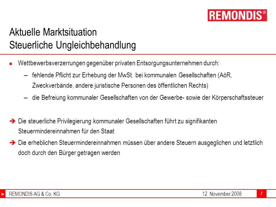 > REMONDIS AG & Co. KG12. November 2008 > 7 Aktuelle Marktsituation Steuerliche Ungleichbehandlung Wettbewerbsverzerrungen gegenüber privaten Entsorgu