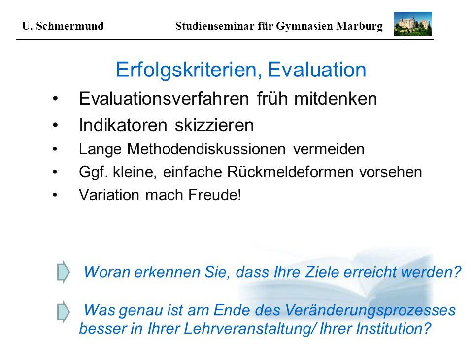 Erfolgskriterien, Evaluation Evaluationsverfahren früh mitdenken Indikatoren skizzieren Lange Methodendiskussionen vermeiden Ggf. kleine, einfache Rüc
