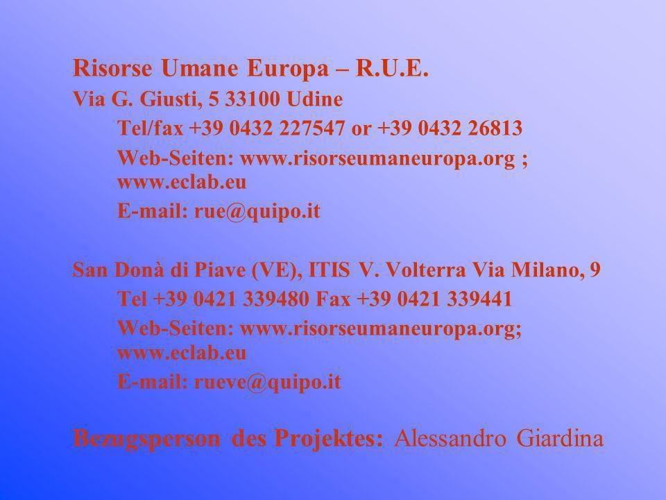 Risorse Umane Europa – R.U.E. Via G. Giusti, 5 33100 Udine Tel/fax +39 0432 227547 or +39 0432 26813 Web-Seiten: www.risorseumaneuropa.org ; www.eclab