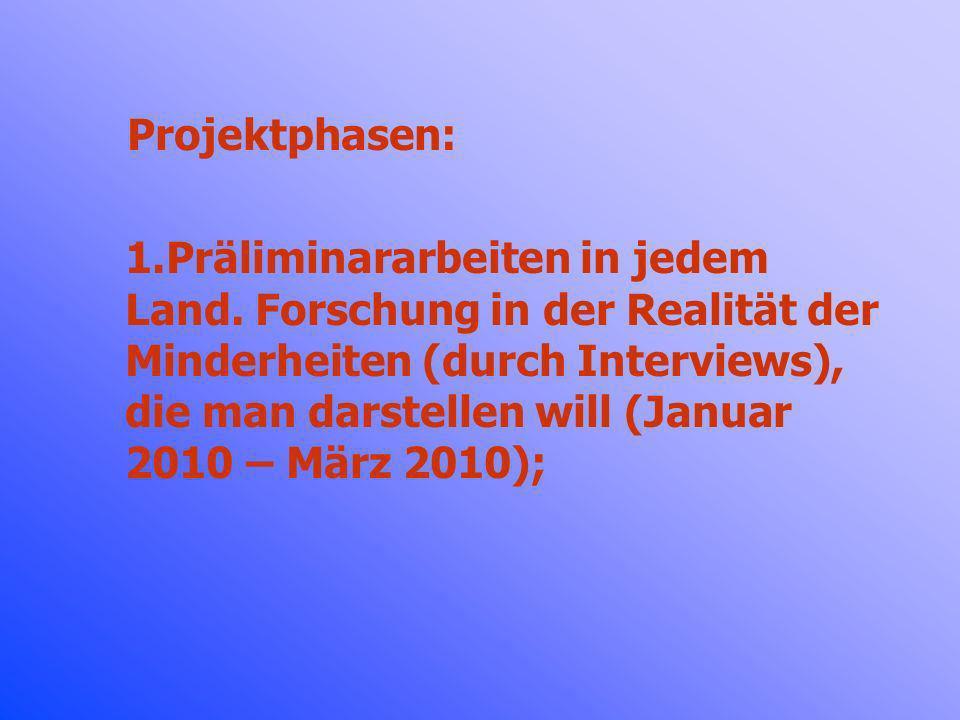 Projektphasen: 1.Präliminararbeiten in jedem Land. Forschung in der Realität der Minderheiten (durch Interviews), die man darstellen will (Januar 2010