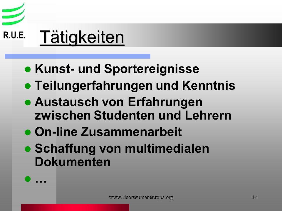 www.risorseumaneuropa.org14 Tätigkeiten Kunst- und Sportereignisse Teilungerfahrungen und Kenntnis Austausch von Erfahrungen zwischen Studenten und Le