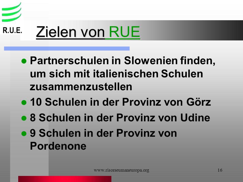 www.risorseumaneuropa.org16 Zielen von RUE Partnerschulen in Slowenien finden, um sich mit italienischen Schulen zusammenzustellen 10 Schulen in der P