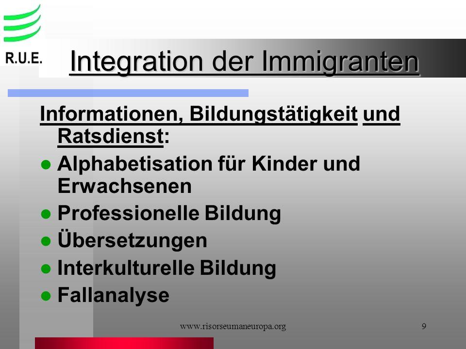 www.risorseumaneuropa.org9 Integration der Immigranten Informationen, Bildungstätigkeit und Ratsdienst: Alphabetisation für Kinder und Erwachsenen Pro