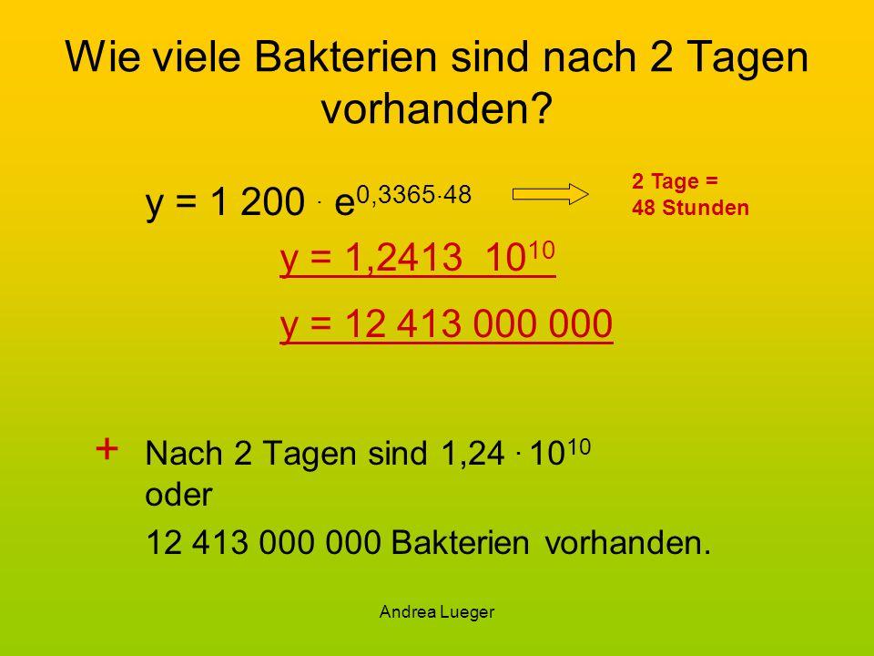 Andrea Lueger Wie viele Bakterien sind nach 2 Tagen vorhanden? y = 1 200. e 0,3365. 48 y = 1,2413 10 10 y = 12 413 000 000 + Nach 2 Tagen sind 1,24. 1