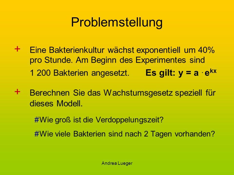Andrea Lueger Problemstellung + Eine Bakterienkultur wächst exponentiell um 40% pro Stunde. Am Beginn des Experimentes sind 1 200 Bakterien angesetzt.