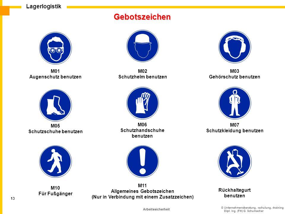 ©Unternehmensberatung, -schulung, -training Dipl. Ing. (FH) G. Schumacher Lagerlogistik 13 Arbeitssicherheit Gebotszeichen M03 Gehörschutz benutzen M0