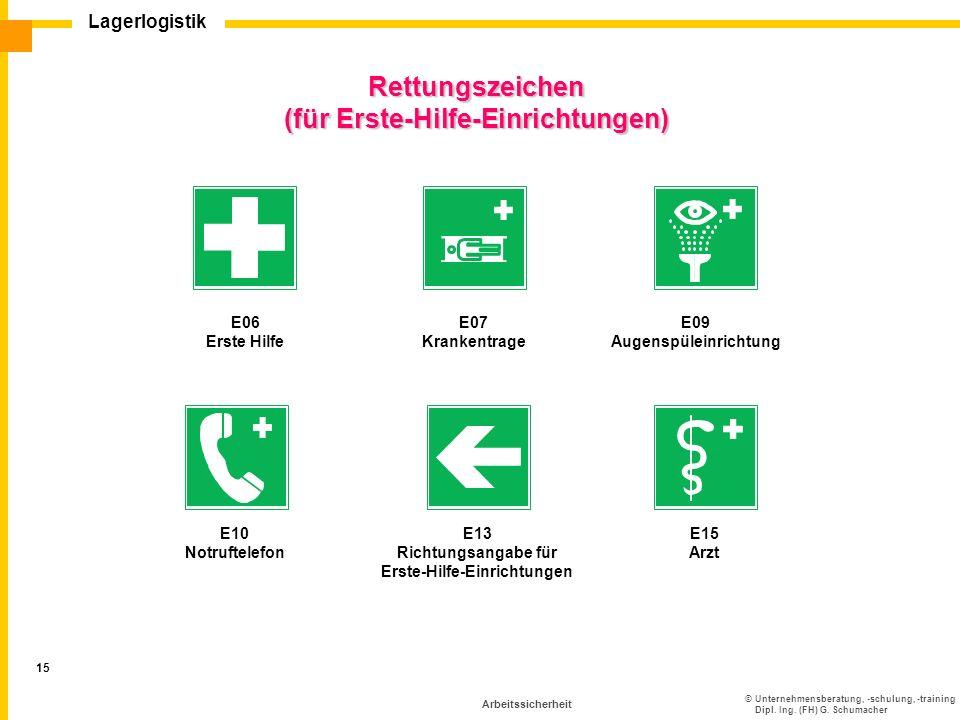 ©Unternehmensberatung, -schulung, -training Dipl. Ing. (FH) G. Schumacher Lagerlogistik 15 Arbeitssicherheit Rettungszeichen (für Erste-Hilfe-Einricht
