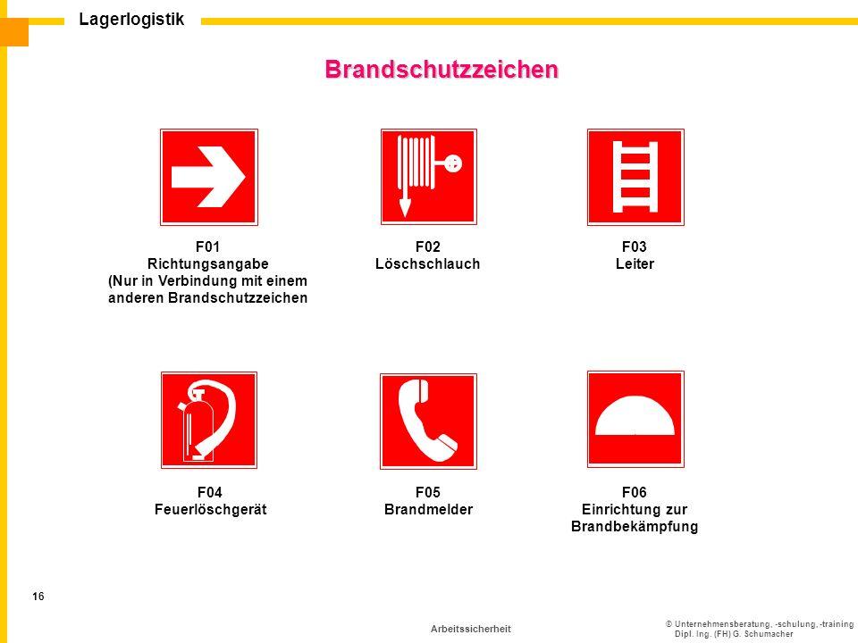 ©Unternehmensberatung, -schulung, -training Dipl. Ing. (FH) G. Schumacher Lagerlogistik 16 Arbeitssicherheit Brandschutzzeichen F03 Leiter F01 Richtun