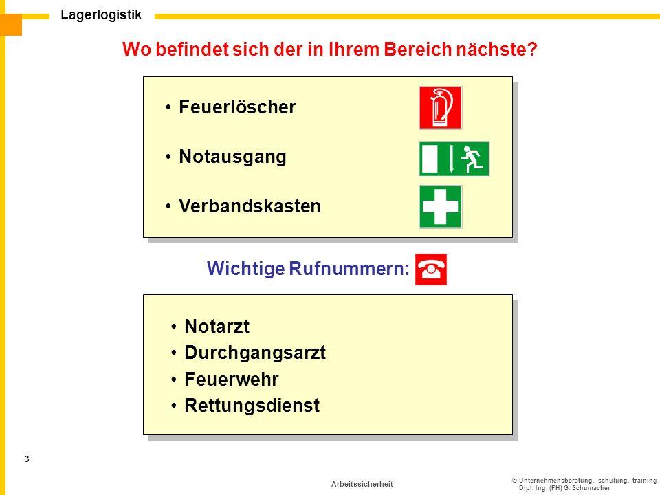 ©Unternehmensberatung, -schulung, -training Dipl. Ing. (FH) G. Schumacher Lagerlogistik 3 Arbeitssicherheit Wo befindet sich der in Ihrem Bereich näch