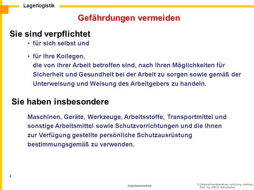 ©Unternehmensberatung, -schulung, -training Dipl. Ing. (FH) G. Schumacher Lagerlogistik 4 Arbeitssicherheit Gefährdungen vermeiden Sie sind verpflicht
