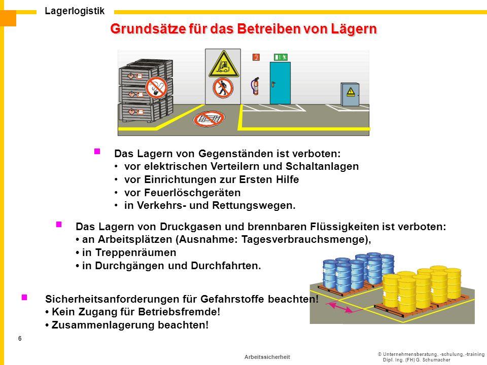 ©Unternehmensberatung, -schulung, -training Dipl. Ing. (FH) G. Schumacher Lagerlogistik 6 Arbeitssicherheit Grundsätze für das Betreiben von Lägern Da