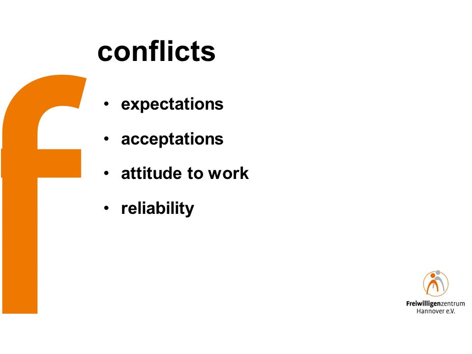 conflicts expectations acceptations attitude to work reliability