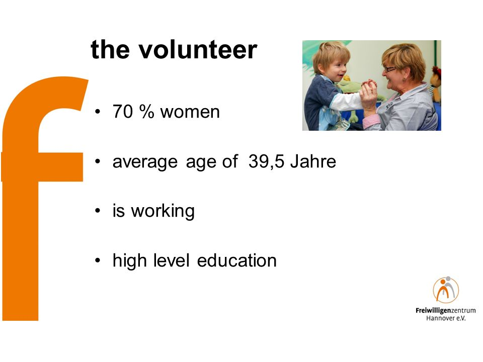 the volunteer 70 % women average age of 39,5 Jahre is working high level education