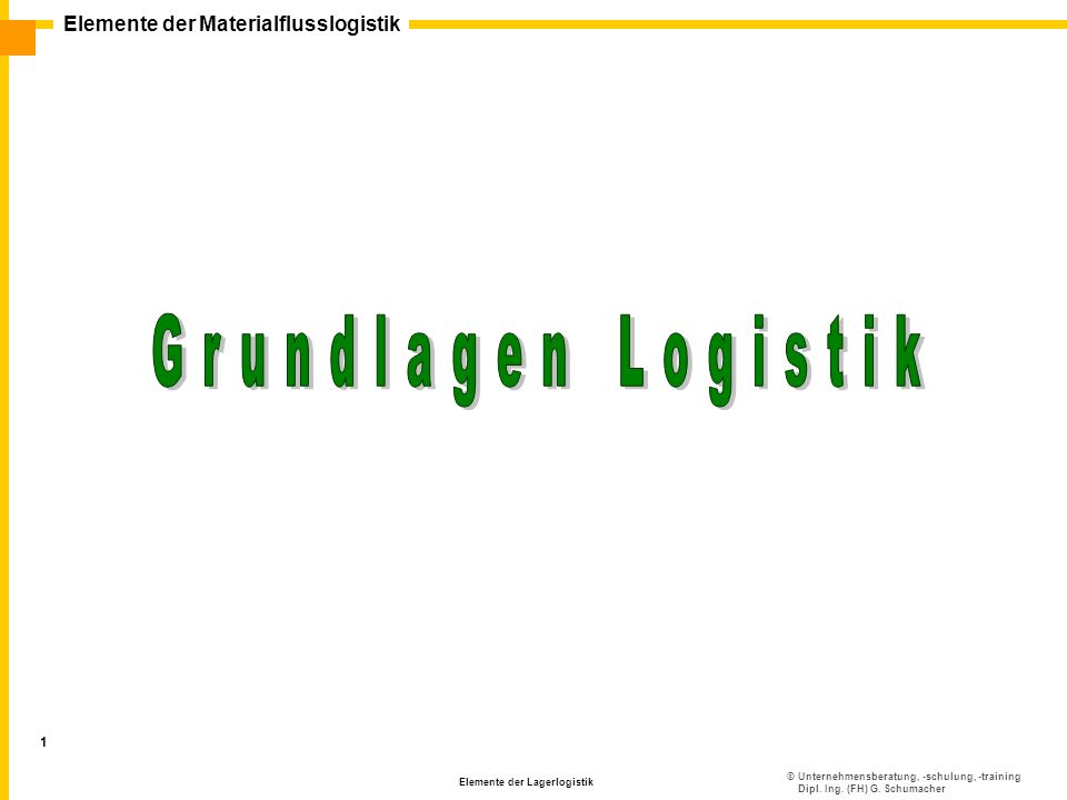 ©Unternehmensberatung, -schulung, -training Dipl. Ing. (FH) G. Schumacher Elemente der Materialflusslogistik Elemente der Lagerlogistik 1