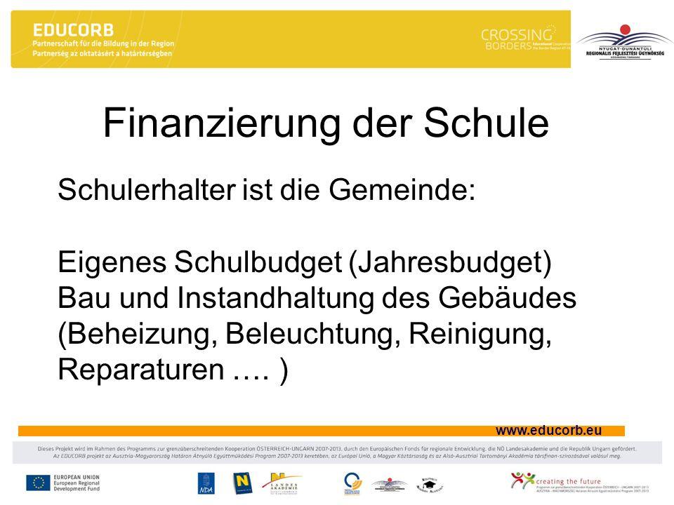 www.educorb.eu Finanzierung der Schule Schulerhalter ist die Gemeinde: Eigenes Schulbudget (Jahresbudget) Bau und Instandhaltung des Gebäudes (Beheizu