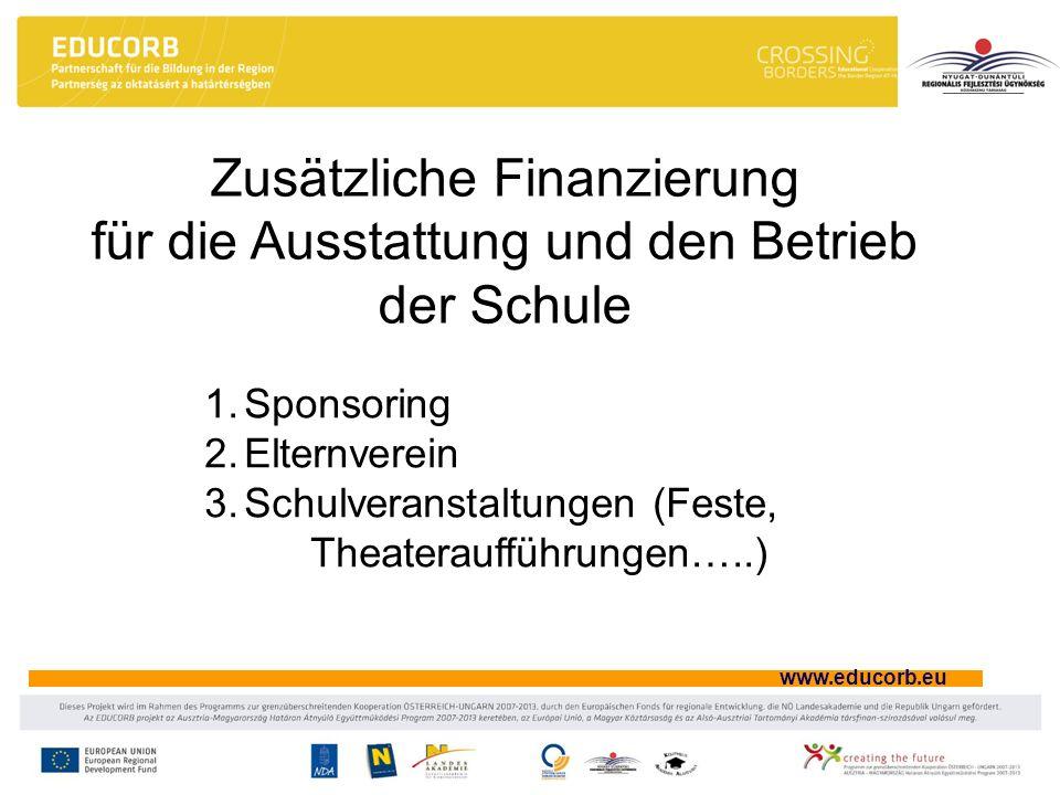 www.educorb.eu Zusätzliche Finanzierung für die Ausstattung und den Betrieb der Schule 1.Sponsoring 2.Elternverein 3.Schulveranstaltungen (Feste, Thea