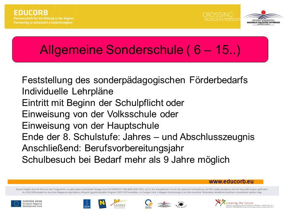 www.educorb.eu Allgemeine Sonderschule ( 6 – 15..) Feststellung des sonderpädagogischen Förderbedarfs Individuelle Lehrpläne Eintritt mit Beginn der S