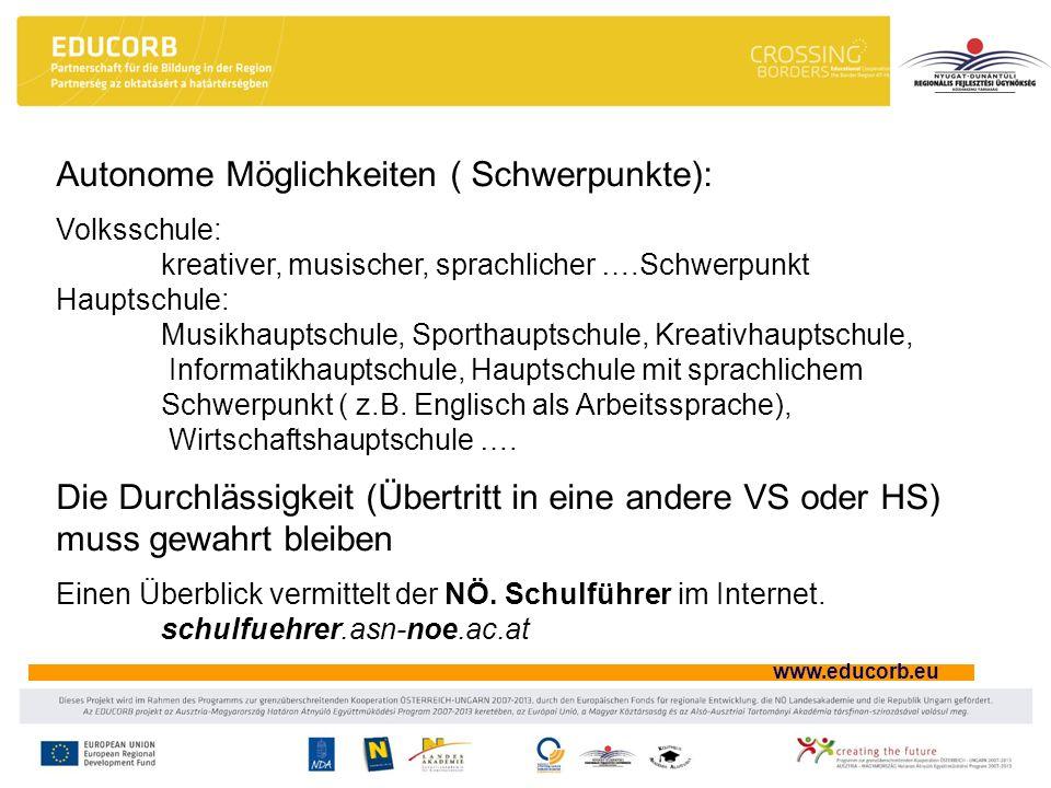 www.educorb.eu Autonome Möglichkeiten ( Schwerpunkte): Volksschule: kreativer, musischer, sprachlicher ….Schwerpunkt Hauptschule: Musikhauptschule, Sp