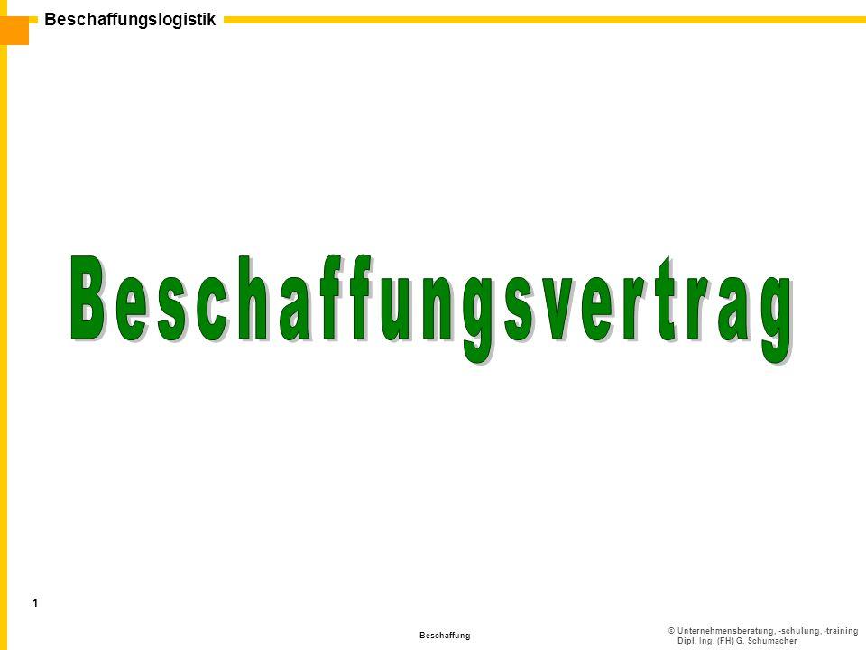 ©Unternehmensberatung, -schulung, -training Dipl. Ing. (FH) G. Schumacher Beschaffungslogistik Beschaffung 1