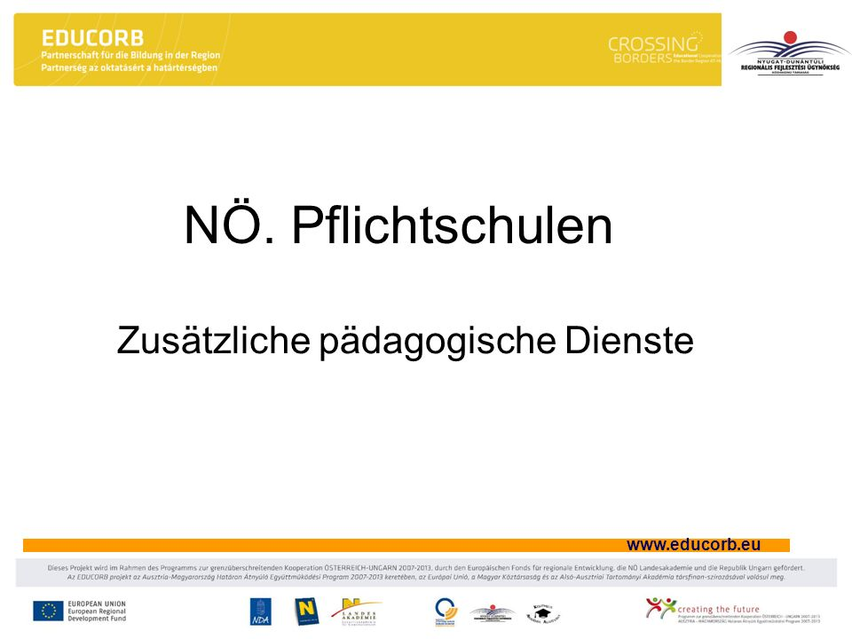 www.educorb.eu Logopädie Feststellung des Bedarfs Einteilung durch BSI Unterricht für 1-2 Kinder pro Einheit während des Regelunterrichts Unterricht durch ausgebildete Sprachheillehrer