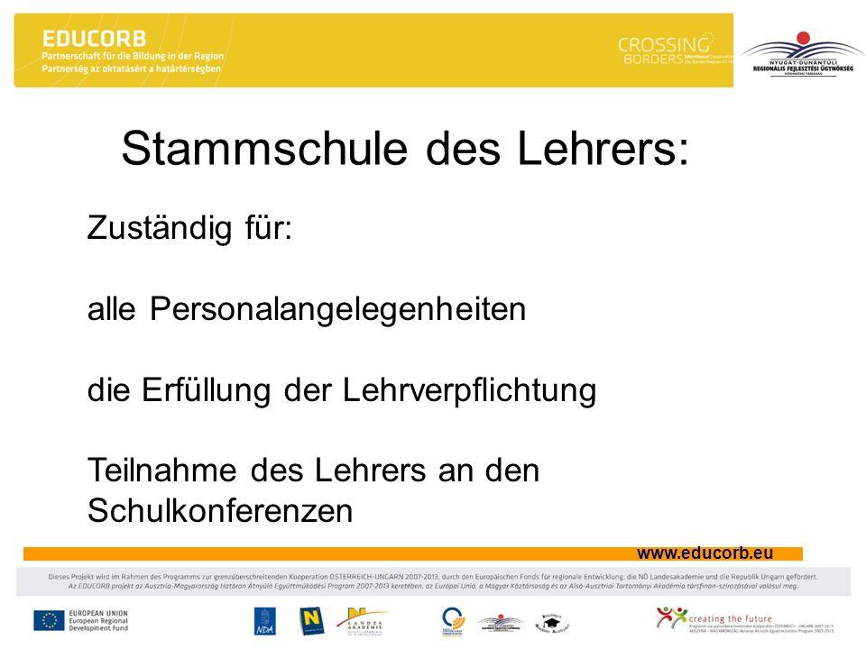 www.educorb.eu Stammschule des Lehrers: Zuständig für: alle Personalangelegenheiten die Erfüllung der Lehrverpflichtung Teilnahme des Lehrers an den S