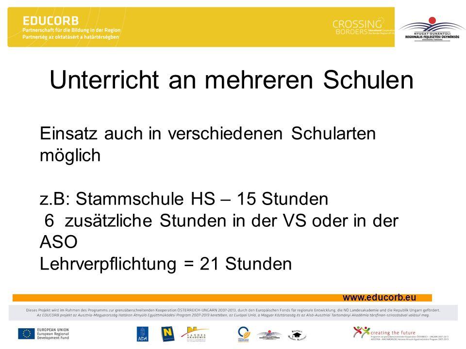 www.educorb.eu Unterricht an mehreren Schulen Einsatz auch in verschiedenen Schularten möglich z.B: Stammschule HS – 15 Stunden 6 zusätzliche Stunden