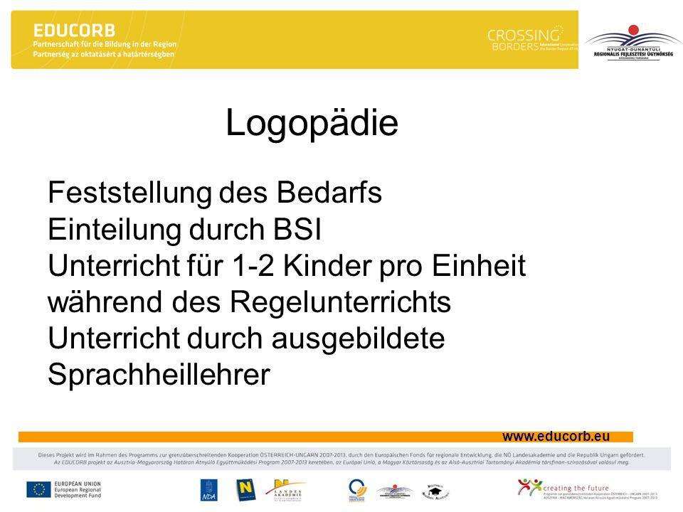 www.educorb.eu Logopädie Feststellung des Bedarfs Einteilung durch BSI Unterricht für 1-2 Kinder pro Einheit während des Regelunterrichts Unterricht d